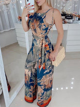 Sexy V-Neck Casual Wide Leg Tropical Print Spaghetti Strap Jumpsuit