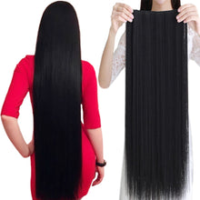 Clip In Long Straight Black Hairpiece