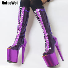 Metallic Blue Spike High Heel Platform Boot