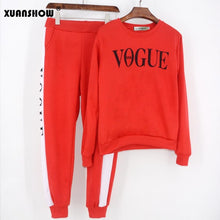2 Piece Set VOGUE Letter Printed 0-Neck Sweatshirt + Patchwork Long Pant