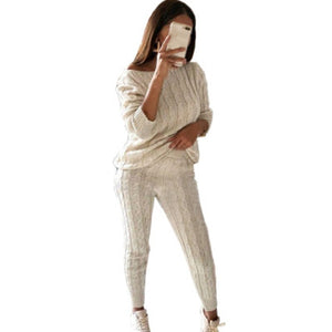 2 Piece Set Sweater Top+Pants Knitted Suit