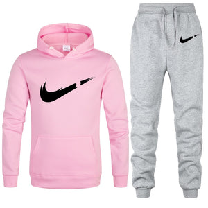 Two Piece Sets Fleece Thick Hoody+Pants Sporting Suit