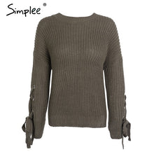 Knitted Pullover Lace Up Sweater