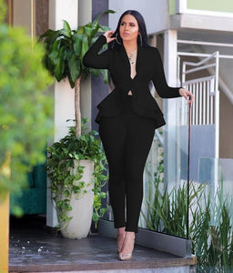 Two Piece Set Elegant Sexy V Neck Long Sleeve Business Suit