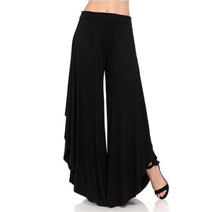 Elastic Waist Irregular Flared Wide Leg Pants
