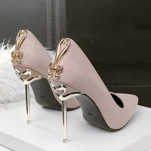 High Heels with Metal Gold Design