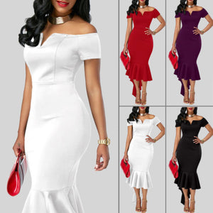 Ruffle Off Shoulder Asymmetric Midi Dress