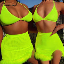 Neon Color Sexy Two Piece Outfits Backless Bralette And Mini Skirt Set