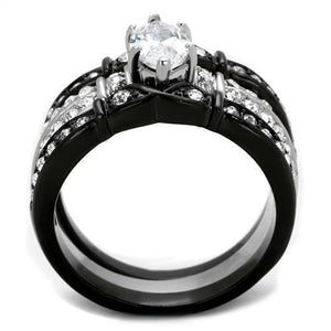 Two-Tone Black and Silver Ring Set