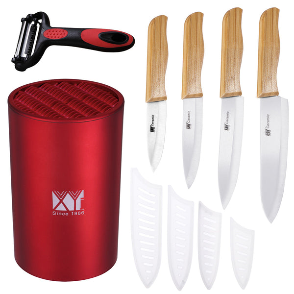Round Cylinder Knife Holder with Ceramic Knives and Peeler Universal Knife Stand Set for Kitchen(Red)