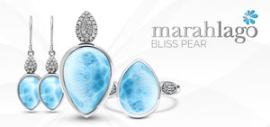 Chic and stylish! Sitting atop a large teardrop of larimar sits a sparkling bail of white sapphires in our exceptional Bliss Pear necklace. Includes a rhodium-plated sterling silver rope chain that will adjust to any length up to 21