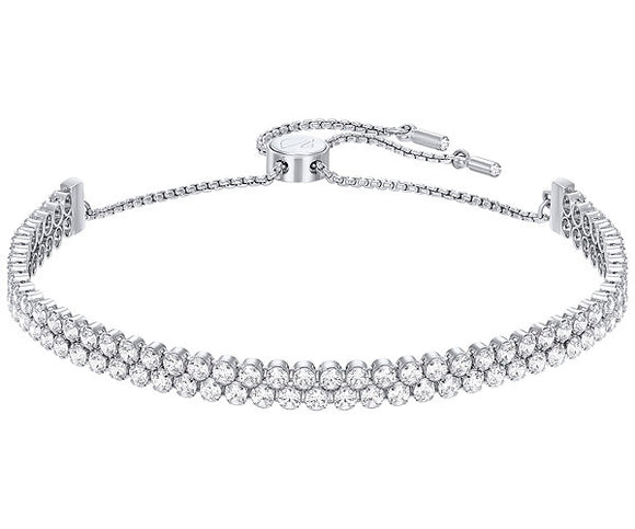 Swarovski Subtle double bracelet, white, rhodium plating