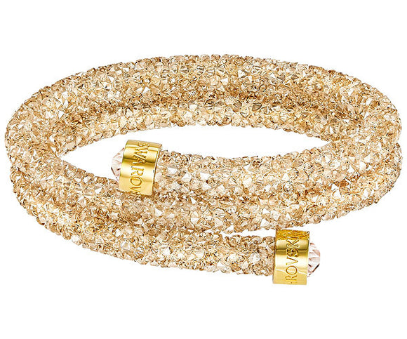 Swarovski Crystaldust double bangle, golden, gold plating