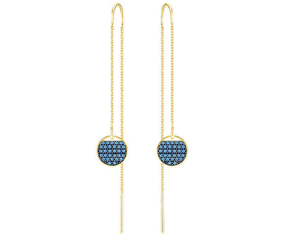 Swarovski Ginger chain pierced earrings, blue, gold plating