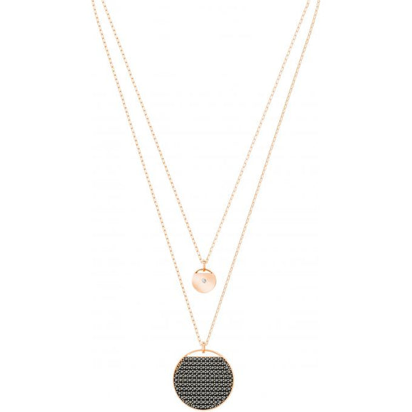 Swarovski Ginger layered pendant, gray, rose gold plating