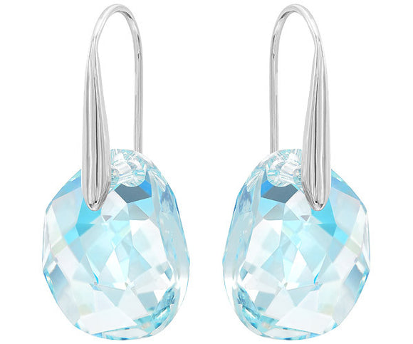 Swarovski Galet pierced earrings, blue, rhodium plating