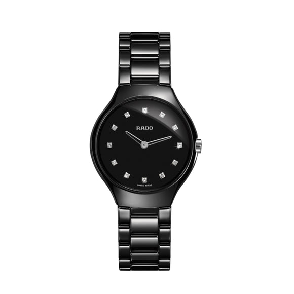 Rado True Thinline Black Dial Black High-tech Ceramic Ladies Watch