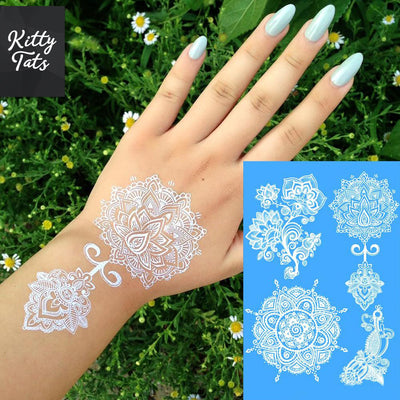 Intricate White Henna Patterns 4