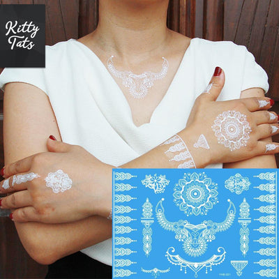 Intricate White Henna Patterns 1