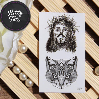Jesus and cat portrait detailed blackwork
