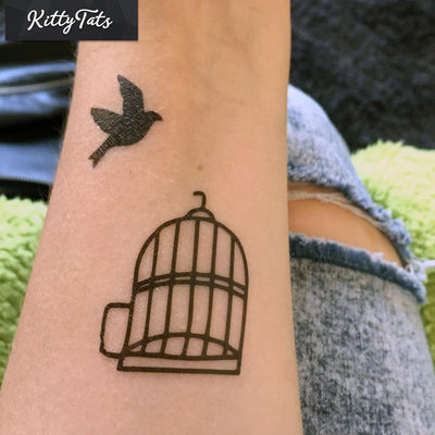 Bird escaping from birdcage