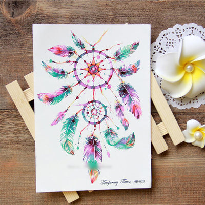 Multi-colored dream-catcher with feathers