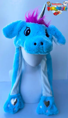 Animal Hats - Bunny Pop - Blue Unicorn