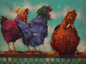 "Clucks - Acrylic on Panel(Original) by Angie Rees. 12""(W)x9""(H) - AR154-000RG"