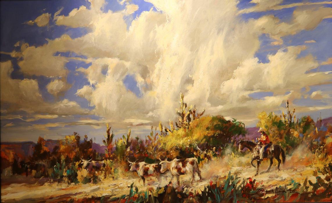 "Big Sky Round Up - Acrylic on Canvas(Original) by Brent Heighton. 50""(W)x31""(H) - BH151-000RG"