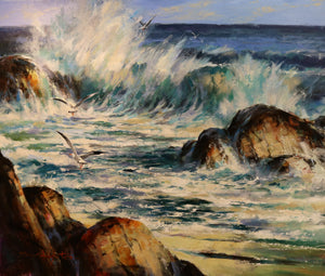 "East Cape Surf  - Acrylic on Canvas(Original) by Brent Heighton. 47""(W)x39""(H) - BH176-000RG"