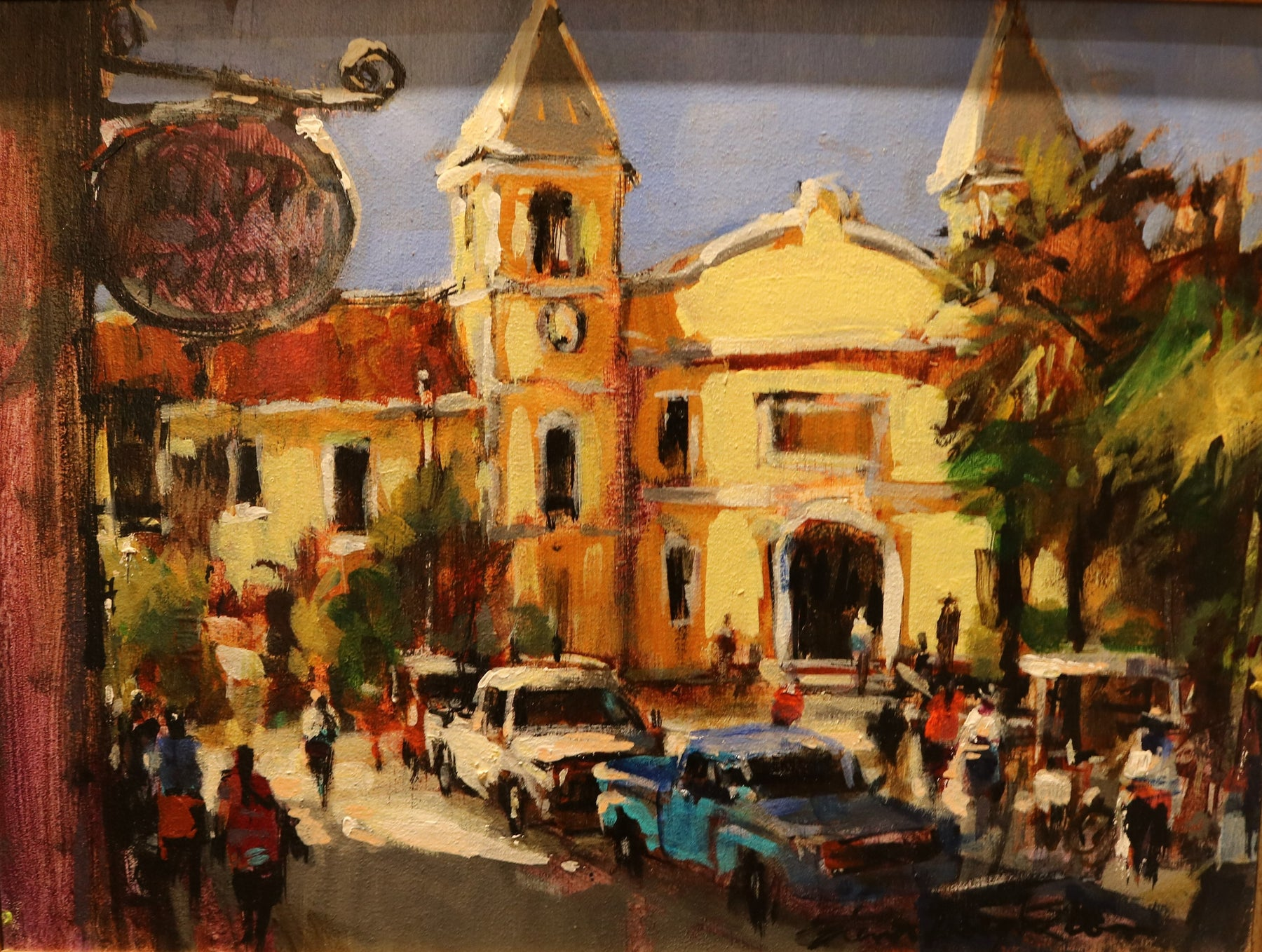 "La Plaza San Jose  - (Town Square San Jose) Acrylic on Canvas (Original) by Brent Heighton. 16""(W)x12""(H) - BH237-000RG"