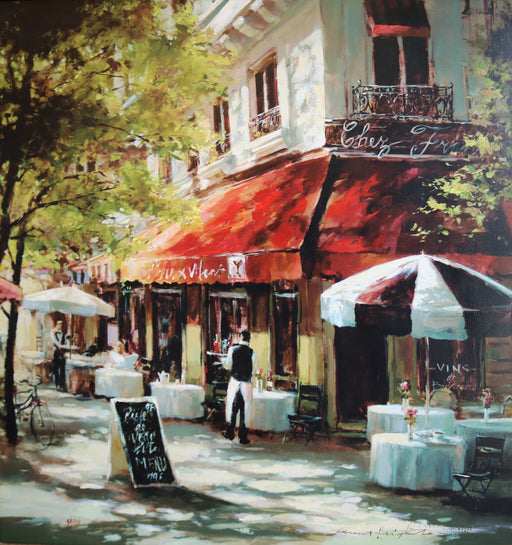 "Cafe Francette - Acrylic On Canvas (Mixed Media Giglee 86/95) by Brent Heighton. 32""(W)x32""(H) - BH250-086MM"
