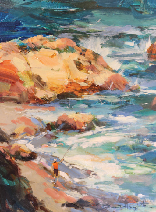 "Surf Casting - Acrylic on Canvas(Original) by Brent Heighton. 9""(W)x12""(H) - BH265-000RG"