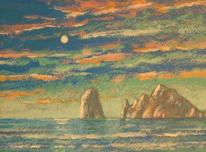 "Cabo Moon - Acrylic on Canvas Paper(Original) by Chris MacClure. 5.5""(W)x4""(H) - CM176-000RG"