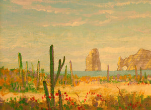 "Cactus Garden - Acrylic on Canvas Paper(Original) by Chris MacClure. 5.5""(W)x4""(H) - CM177-000RG"