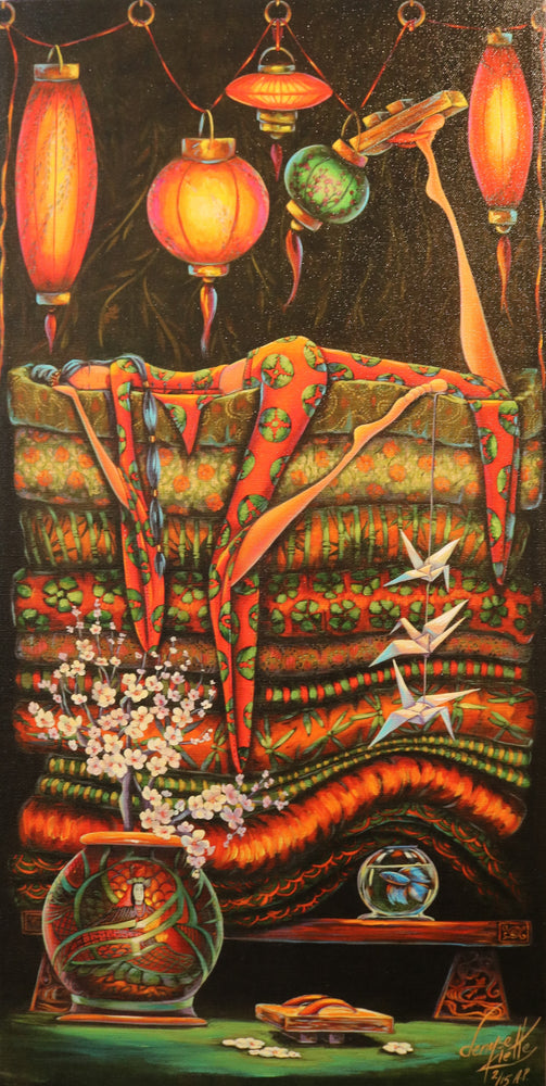 "Princess And The Pea Japan - Acrylic on Canvas(Mixed Media Giglee 2/15) by Denyse Klette. 12""(W)x24""(H) - DK156-002MM"