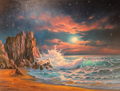 "Luna Llena  - (Full Moon) Oil on Canvas (Original) by Jonn Einerssen. 48""(W)x36""(H) - JE171-000RG"