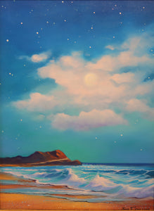 "Playita Moon - (Little Beach Moon) Oil on Panel(Original) by Jonn Einerssen. 12""(W)x16""(H) - JE199-000RG"