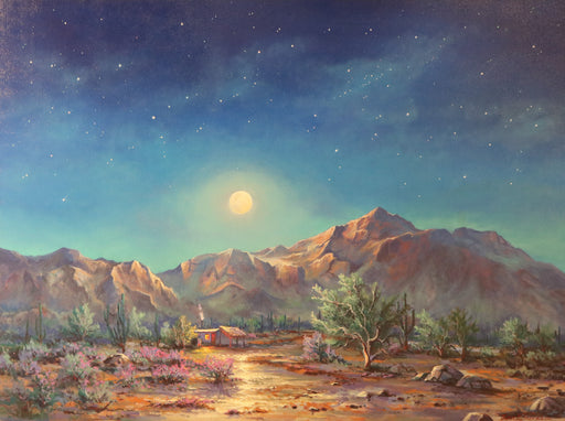 "Moonlight Casa - (Moonlight House) Oil on Canvas (Original) by Jonn Einerssen. 40""(W)x30""(H) - JE261-000RG"
