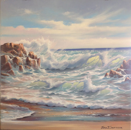 "Baja Surf - Oil on Canvas (Original) by Jonn Einerssen. 19.5""(W)x19.7""(H) - JE281-000RG"