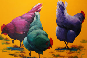 "??? Chickens - Acrylic on Canvas(Original) by Julia Lucich. 36""(W)x24""(H) - JL156-000RG"