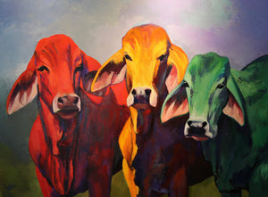 "????Cows - Acrylic on Canvas(Original) by Julia Lucich. 40""(W)x30""(H) - JL157-000RG"