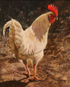 "White Rooster  - Acrylic on Panel(Original) by Janice Robertson. 11""(W)x14""(H) - JR154-000RG"