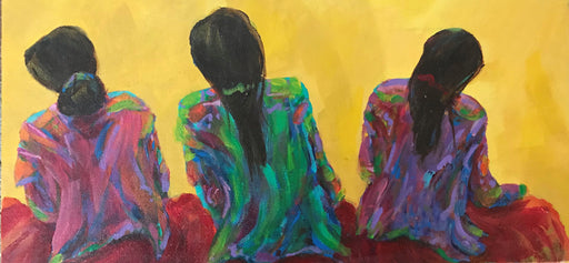 "Tres Mujeres- Acrylic on Canvas(Original) by Marilyn Hurst. 16""(W)x8""(H) - MH158-000RG"