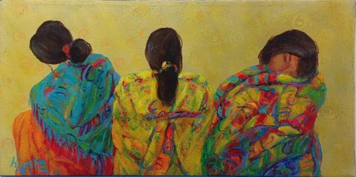 "3 Graces Series (2) - Acrylic on Canvas(Original) by Marilyn Hurst. 16""(W)x8""(H) - MH167-000RG"