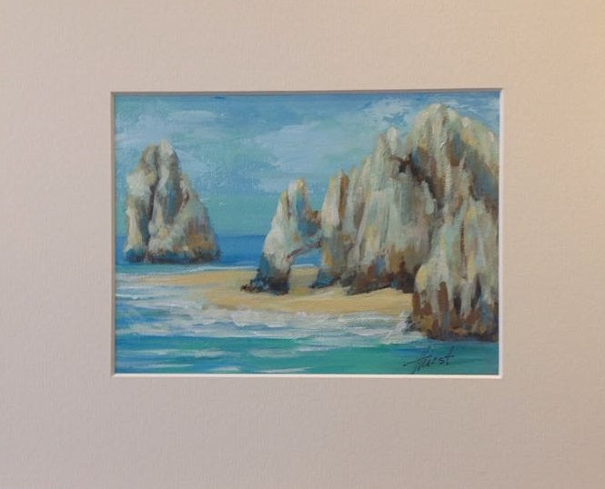 "Lands End Heart - Acrylic on Panel (Original) by Marilyn Hurst. 7.5""(W)x5.5""(H) - MH168-000RG"