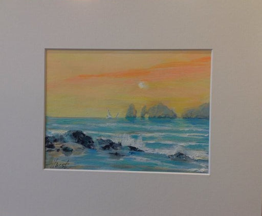 "Lands End Sunset - Acrylic on Panel (Original) by Marilyn Hurst. 7.5""(W)x5.5""(H) - MH169-000RG"