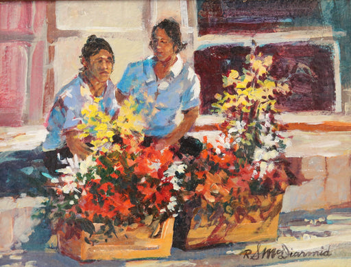 "Las Vendedoras - (The Selling Ladies) Acrylic(Original) by Richard McDiarmid. 12""(W)x9""(H) - RM192-000RG"