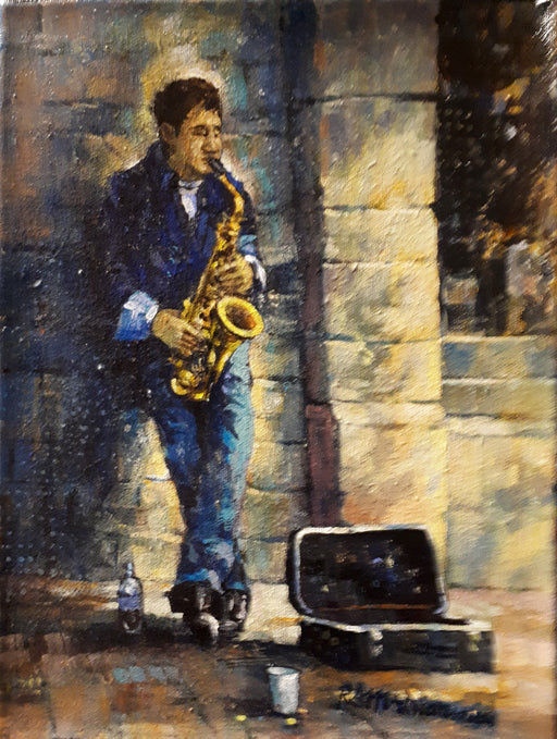 "Solo Sax - Acrylic on Canvas (Original) by Richard McDiarmid. 9""(W)x12""(H) - RM207-000RG"