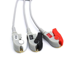 Compatible Marquette ECG Cable With Snap 3 Leads Connector 2001292-001
